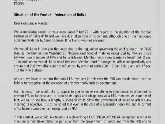FIFA letter says representatives coming to Belize – Delegation Letter